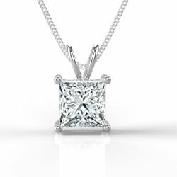 New 18K White Gold Princess Cut Solitaire Enhanced Diamond Pendant 2.00 CT HVS1