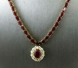 Oval Ruby & Diamond Link Lady's Tennis Necklace Pendant 14K Yellow Gold 52.50Ct