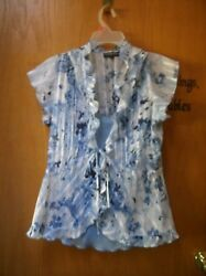 Blue Flower Cover up Top with Blue Cami underneath size Medium