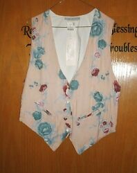 Peach with Blue Pink & Mauve Flower Vest with Pearl Accent size Small..