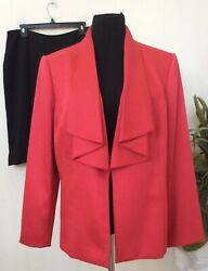 Tahari Jones Studio Mismatched Women's Pink Black Skirt Suit Size 14W EUC $55.24
