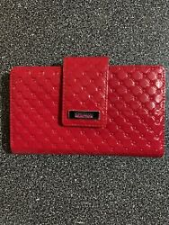 Kenneth Cole Reaction Womens Wallet Red Leather Like Shiny