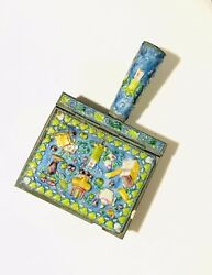 Vintage Chinese Cloisonne & Brass Silent Butler Crumb Catcher Use As Jewelry Box