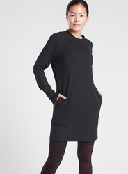 ATHLETA Bounce Back Sweatshirt Dress SP S P PETITE Black SOFT Winter Dress NWT $66.38