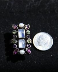 Nicky ButlerSigned Vintage  India Sterling Silver Multi-Color Ring. Stunning
