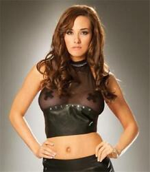 Black Fishnet and Leather Halter Top with Nail Heads Studs Lingerie L4569 Small