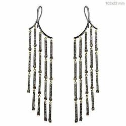Sterling Silver Natural Diamond Pave Chandelier Earrings Vintage Look Jewelry PY $2378.84