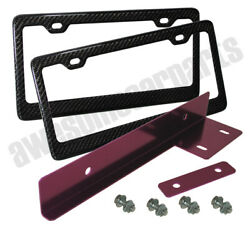 Carbon Fiber Weaves Frame Tag Trim + Jdm Purple License Plate Bracket Relocator