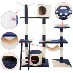 70quot; Cat Tree Condo Furniture Scratch Post Pet Play House Home Gym Tower Navy $74.99