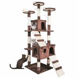 68quot; Cat Tree Condo Furniture Scratch Post Pet Play House Home Gym Tower Brown $74.99