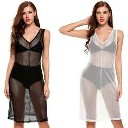 New Women Casual V-Neck Sleeveless Net Hollow Out See-through Elastic IL1 02