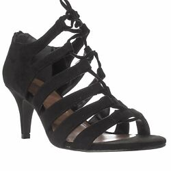 NEW Style & Co Women's Black Suede Open Toe Lace Up Heels Size 6 M Strappy