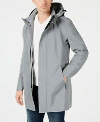 $350 Calvin Klein Men's Slim-Fit Reflective Raincoat Coat 40L Gray
