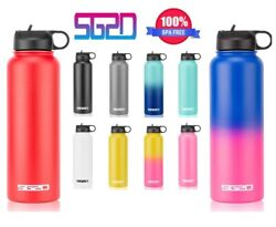 Hydro Stainless Steel Water Bottle Flask Insulated Straw Lid Cap 18oz 32oz 40oz $15.85