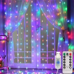 300LED Curtain Fairy Hanging String Lights Christmas Wedding Party 8 Modes USB $11.50