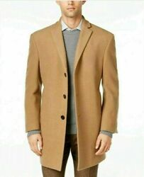 $395 Calvin Klein Men's Prosper X-Fit Overcoat Coat 42L Camel WOOL