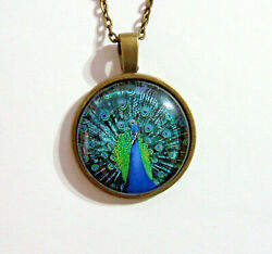 PBE6 PEACOCK PENDANT Bronze Alloy Glass Domed PENDANT with 20quot; chain GBP 1.95