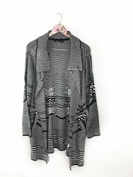 RDI Women's Size Large Black White Cable Knit Knit Long Sweater Cardigan OE50