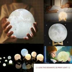 3D Printing Moon Lamp Moonlight USB Changing LED Night Lunar Light Touch 3 Color $19.85