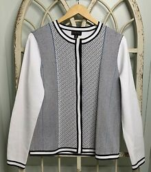 Carlisle Collection Black White Blue Snap-front Knit Cardigan Sweater Sz Medium