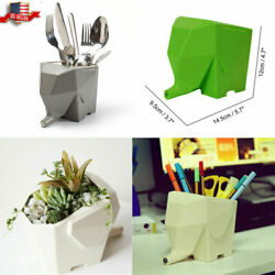 Kitchen Cutlery Drainer Tableware Holder Jumbo Elephant Pen Organizer Plant Pot $6.73