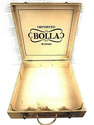 Vintage 4 Bottle Bolla Wooden Wine Box Rope Handle Verona Italy 13.5x13.3.75x3.5