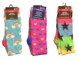 Womens Girls Funky NOVELTY KNEE SOCKS Funny Rainbow Clouds Hearts Stars CHOOSE 1 $4.97