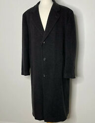 Chereskin Mens 52 Gray Grey Cashmere Blend Topcoat Overcoat Charcoal Coat Nice