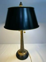 Vintage French Style Palm Tree Brass Table Desk Lamp Black MetalTole Shade