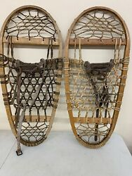 "Vintage Bear Paw Style Wooden Snowshoes 12"" x 28"" USA Oval $134.99"