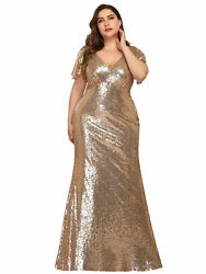 Ever-Pretty US Plus Size Sequins Long Evening Dress Bodycon Party Celebrity Gown $42.29