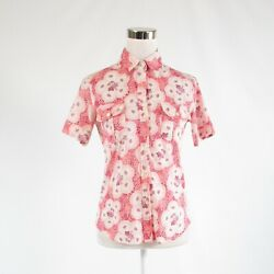 Light red white floral print 100% cotton BARNEYS NEW YORK button down blouse S $39.99