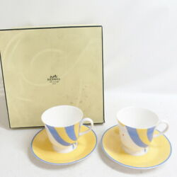 Hermes CIRCUS Cup & Saucer Pair with Box Yellow Light Blue Used Japan
