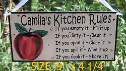 APPLE KITCHEN RULES SIGN PLAQUE PERSONALIZED ANY NAME WALL COUNTRY DECOR $11.95
