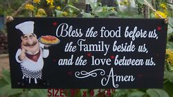FAT CHEF ITALIAN BLESS THIS FOOD FAMILY SIGN WALL KITCHEN BISTRO CUCINA DECOR $12.95