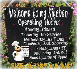 FAT CHEF ITALIAN SIGN WELCOME OPERATING HOURS KITCHEN BISTRO CUCINA WALL DECOR $24.95