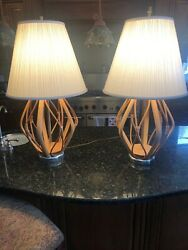 Vintage Bamboo Rattan Mid Century Table Lamps Pair $244.99
