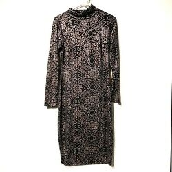 project runway womens long sleeve black silver turtle neck dress size medium