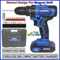 21 Volt drill 2 Speed Electric Cordless Drill Driver with Bits Set Battery $56.23