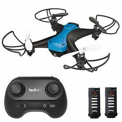 Tech RC Drones Mini Quadcopter 2.4G w 2 Batteries 20 Mins Flying 3D Flips Gift $31.01