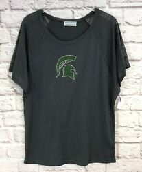 College Couture Women#x27;s Michigan State Spartans Burnout Sleeve Tee Shirt Large
