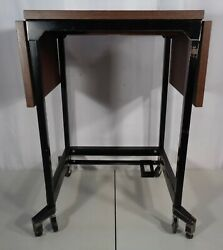 Vintage Mid Century Modern Rolling Drop Leaf Typewriter Stand Table Retro 1960's