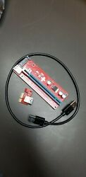 Lesofod VER009S PCI E 16x to 1x Powered Riser Adapter Card w 4PIN SATA $5.00