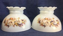 White Milk Glass Brown Yellow Floral Hurricane Kerosene Oil Student Lamp Shades