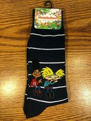 Nickelodeon Mens Novelty Crew Socks HEY ARNOLD Size 6 12 Navy Blue TV 90#x27;S RARE $2.99