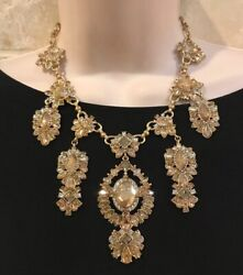 BELLE BADGLEY MISCHKA Spectacular CHAMPAGNE Crystal Chandelier Necklace $138 NWT $53.99