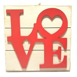 Love Word Script Heart Hanging Wood Plaque Wall Sign Rustic Room Decor 12x12x1.5 $13.00