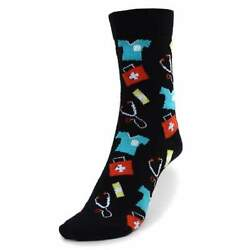 Doctor Nurse Pattern Socks Novelty for Women Novelty Gift Socks $8.25
