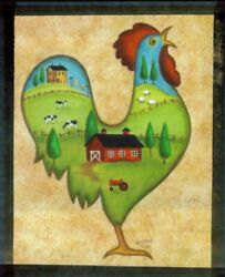 rooster chicken cows sheep saltbox houses country art kitchen decor wood sign $10.79