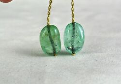 ANTIQUE NATURAL COLOMBIAN EMERALD BEADS 23MM TUMBLE 75 CTS GEMSTONE FOR PENDANT